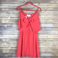 Charles Henry Womens Dress Fit Flare Mini Ruffle Neck Cold Shoulder Size Small S