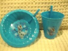 FROZEN ELSA+ANNA FRIEND OLAF SIP STRAW CUP+SIP STRAW CEREAL/SOUP BOWL COMBO-NEW!