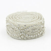 1 Yard Crystal Rhinestone Applique Trim Wedding Bridal Belt Sash Sewing/Iron DIY