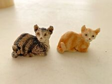 """lot of Two small mini tabby cats collectable figurines, circa 1970, resin, 1"""""""