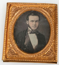 DAGUERREOTYPE MAN, MUTTON CHOPS, TINTED. SHARP IMAGE. 1/6 PLATE.