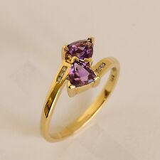 AMETHYST DIAMOND RING GENUINE DIAMONDS REAL 9K GOLD SIZE N FEBRUARY BIRTHSTONE