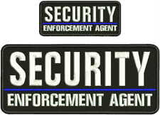 SECURITY ENFORCEMENT AGENT EMBROIDERY PATCH 4X10 AND 2X5 hook on back blk/WHITE