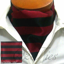 MEN'S BURGUNDY BLACK Stripe Slipknot Style Ascot Cravat And Hanky  2pc Set