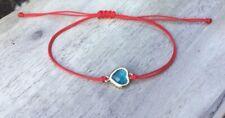 Gold Blue Swarovski Reiki Healing Bracelet Tumble LOVE Heart Handmade