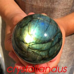 0.54kg Natural labradorite ball quartz crystal sphere spectrolite 73mm AQ192