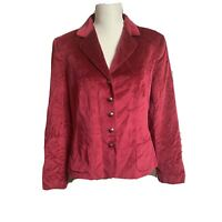 Vintage Talbots Women's Size L Wine Red Blazer Velvet Silk Cotton Jacket 90's