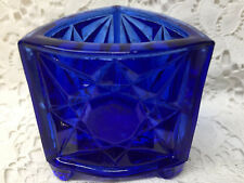 Cobalt Blue glass Triangle star toothpick match holder daisy & button footed art