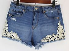 Aeropostale Womans Shorts Size 6 High Waisted Shortie Distressed Lace Cut Offs