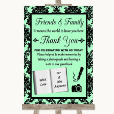 Wedding Sign Poster Print Mint Green Damask Photo Guestbook Friends & Family