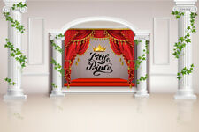10x8ft Vinyl Background Studio Backdrop Little Prince Crown Red Stage Curtains