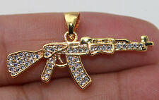18K Gold Filled - Punk Rock Rifle Gun Topaz Zircon Gemstone Women Pendant Gift