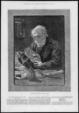 1882 antica stampa-Nuovo Anno vecchia Pulizia Orologio VECCHIO Occhiali (98)