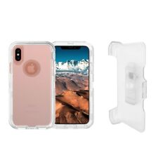 Clear White For Apple iPhone XS Max Defender Case w/ Clip Fits Otterbox