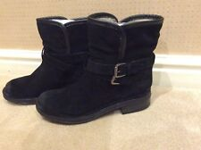 BLACK SUEDE SHEARLING LINED ANKLE BOOTS/PANZEE by DUNE/SIZE 5/BNIB