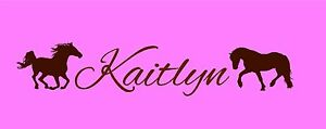 Personalize Childs Name with Horses cowgirl wall decal vinyl tween decals art