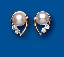 9ct Yellow Gold Cultured Pearl & Clear Cubic Zirconia Fancy Studs AP0051