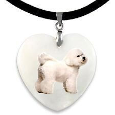 Bichon Frise Dog Natural Mother Of Pearl Heart Pendant Necklace Chain PP277