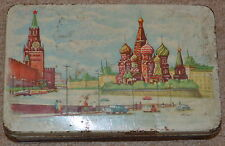 Vintage Soviet Union Russian USSR Tin Metal Box - Moscow Kremlin