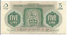 Tripolitania Banknote Italy Military Authority 5 Lira pM2 XF 1943 WW2 Rare Libya