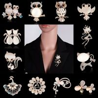Fashion Crystal Butterfly Cat Owl Animals Brooch Pin Breastpin Costume Jewelry