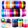 25 Yards Satin Ribbon Bows 6.5/10/15/25/38mm Wide Wedding Decor Lots of Colours