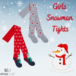 Girls Christmas Soft Cotton Rich Warm Cosy Xmas Snowman Design Tights 2-8 Years