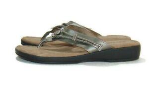 Minnetonka Sandals Silver Gray Silverthorne Pewter Thong Flip Flops Womens 10