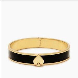 Kate Spade LIVE COLORFULLY Black Enamel Gold Trim Hinged Bangle Bracelet -NWT