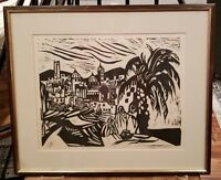 Original Woodcut Block Lino Print Signed & numbered 11/20 Framed Abstract Art