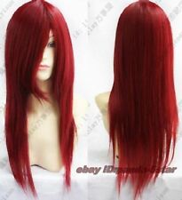 wigs Femmes Rouge foncé long droit Cosplay perruque complète de cheveux de fête