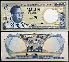 [9554]  Democratic Republic of Congo 1000 Francs 1964 UNC. banknotes-Cancelled