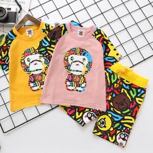 2021 1 Set Kids Boy Girl Baby Milo Monkey Summer Shirt Top Tee + Banana Pant