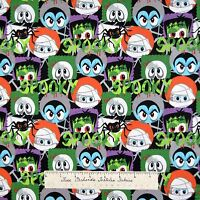 Halloween Fabric - Monster Faces Mummy Skull Frankenstein - AE Nathan 1.88 YARD