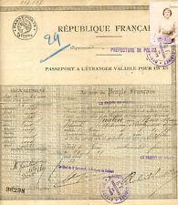 PASSEPORT A L'ETRANGER VALABLE POUR UN AN - 1921, Artiste Lyrique. Alexandrie