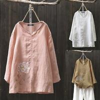 ZANZEA Women Long Sleeve Floral Print Tops Ladies Autumn Cotton T-Shirts Blouses
