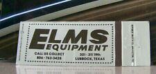 Vintage Matchbook Cover V7 Lubbock Texas Elms Equipment Call Us Collect 19th Ave