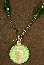 Patron Saints - St. Vincent de Paul (spiritual help) dark green faceted beads
