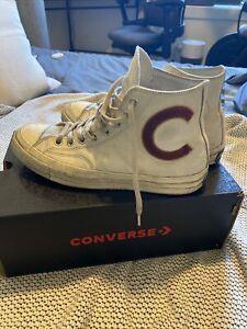 """*Converse High-Tops, Retro Converse """"C"""" Design, Size 10, White W/ Off-White Mids"""