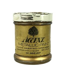 Vintage Accent Metallic Gold Paint Illbronze Glass Jar Mostly Empty