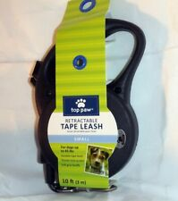 TOP PAW ~ RETRACTABLE TAPE LEASH ~ 10 FEET ~ SMALL  UP to 45 POUNDS ~ BLACK