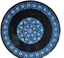 """30"""" Round Black Marble Table Top Turquoise Floral Inlay Handicraft Work"""