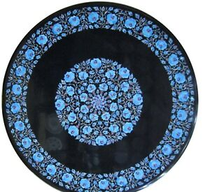 """52"""" Round Black Marble Table Top Turquoise Floral Inlay Handicraft Work"""