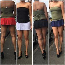 Short Mini Skirt Women's Girls Stretch Flip Frill Ladies Party High Waist