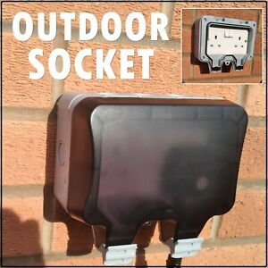 Outdoor Socket Outside 240v Power Supply 3 Pin Plug out door shed log cabin