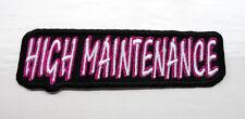 P3 HIGH MAINTENANCE.....Funny Humour Iron Patch Motorcycle Laugh Joke Biker