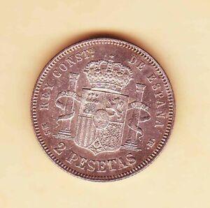 SPAIN 1882 King ALFONSO XII  2 PESETAS Spanish SILVER Coin XF +++