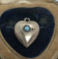 Vintage Sterling Silver Necklace 925 Pendant Charm Puffy Heart