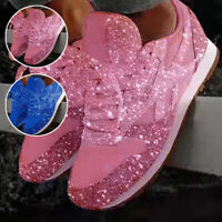 Womens Sequin Glitter Lace Up Fashion Shoes Comfort Athletic Sneakers Trainers