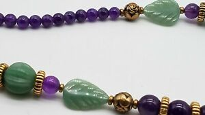 Gold Tone Accent Amethyst G Chalcedony Necklace Carved DY076